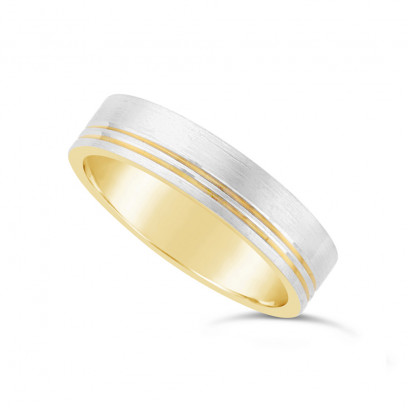 Gents 9ct Yellow Gold Wedding Ring With A 9ct White Gold Brushed Onlay, Plus 2 Narrow Grooves To One Side Of The Wedding Band